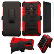 Advanced Armor Hybrid Kickstand Case with Holster and Tempered Glass Screen Protector for ZTE Zmax Pro - Black Red