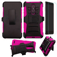 Advanced Armor Hybrid Kickstand Case with Holster and Tempered Glass Screen Protector for ZTE Zmax Pro - Hot Pink