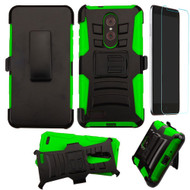 Advanced Armor Hybrid Kickstand Case with Holster and Tempered Glass Screen Protector for ZTE Zmax Pro - Black Green