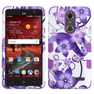 *Sale* Military Grade Certified TUFF Image Hybrid Armor Case for ZTE Grand X4 - Purple Hibiscus Flower Romance