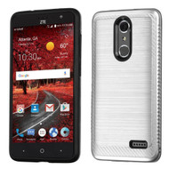 Brushed Multi-Layer Hybrid Armor Case for ZTE Grand X4 - Silver