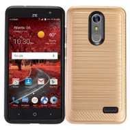 Brushed Multi-Layer Hybrid Armor Case for ZTE Grand X4 - Gold