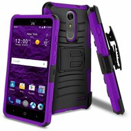 Advanced Armor Hybrid Kickstand Case with Holster for ZTE Grand X4 - Black Purple