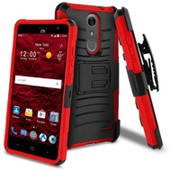 Advanced Armor Hybrid Kickstand Case with Holster for ZTE Grand X4 - Black Red