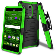 Advanced Armor Hybrid Kickstand Case with Holster for ZTE Grand X4 - Black Green