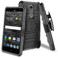 Advanced Armor Hybrid Kickstand Case with Holster for ZTE Grand X4 - Black Grey