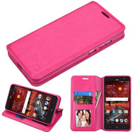 Book-Style Leather Folio Case for ZTE Grand X4 - Hot Pink