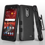 Military Grade Certified TUFF Hybrid Armor Case with Holster for ZTE Grand X4 - Black