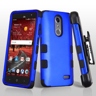 Military Grade Certified TUFF Hybrid Armor Case with Holster for ZTE Grand X4 - Blue