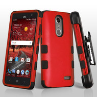 Military Grade Certified TUFF Hybrid Armor Case with Holster for ZTE Grand X4 - Red