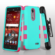 Military Grade Certified TUFF Hybrid Armor Case with Holster for ZTE Grand X4 - Teal Green Hot Pink