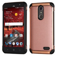 Electroplated Tough Anti-Shock Hybrid Case with Leather Backing for ZTE Grand X4 - Rose Gold
