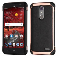 Electroplated Tough Anti-Shock Hybrid Case with Leather Backing for ZTE Grand X4 - Black