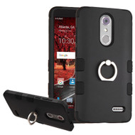 Military Grade Certified TUFF Hybrid Armor Case with Ring Holder for ZTE Grand X4 - Black