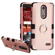 Military Grade Certified TUFF Hybrid Armor Case with Ring Holder for ZTE Grand X4 - Rose Gold