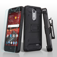 3-IN-1 Kinetic Hybrid Armor Case with Holster and Screen Protector for ZTE Grand X4 - Black