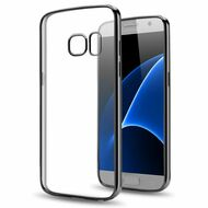 Electroplating Clear Transparent TPU Case for Samsung Galaxy J3 Emerge - Gunmetal