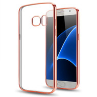 Electroplating Clear Transparent TPU Case for Samsung Galaxy J3 Emerge - Rose Gold