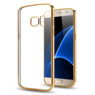 Electroplating Clear Transparent TPU Case for Samsung Galaxy J3 Emerge - Gold