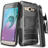 Advanced Armor Hybrid Kickstand Case with Holster and Tempered Glass Screen Protector for Samsung Galaxy On5 - Black