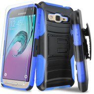 Advanced Armor Hybrid Kickstand Case with Holster and Tempered Glass Screen Protector for Samsung Galaxy On5 - Blue