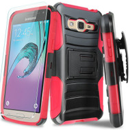 Advanced Armor Hybrid Kickstand Case with Holster and Tempered Glass Screen Protector for Samsung Galaxy On5 - Black Red