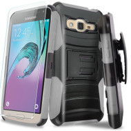 Advanced Armor Hybrid Kickstand Case with Holster and Tempered Glass Screen Protector for Samsung Galaxy On5 - Grey