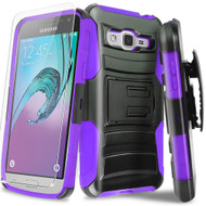 Advanced Armor Hybrid Kickstand Case with Holster and Tempered Glass Screen Protector for Samsung Galaxy On5 - Purple