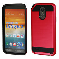 *Sale* Brushed Hybrid Armor Case for LG Stylo 3 / Stylo 3 Plus - Red