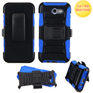 Advanced Hybrid Case with Holster for Samsung Galaxy J3 (2017) / J3 Emerge / J3 Prime / Amp Prime 2 / Sol 2 - Black Blue
