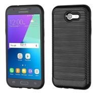 Brushed Multi-Layer Hybrid Armor Case for Samsung Galaxy J3 Emerge - Black