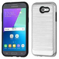 Brushed Hybrid Armor Case for Samsung Galaxy J3 (2017) / J3 Emerge / J3 Prime / Amp Prime 2 / Sol 2 - Silver