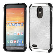 Chrome Tough Anti-Shock Hybrid Case with Leather Backing for LG Stylo 3 / Stylo 3 Plus - Silver