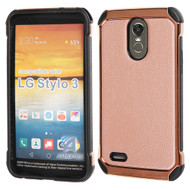 Electroplated Tough Anti-Shock Hybrid Case with Leather Backing for LG Stylo 3 / Stylo 3 Plus - Rose Gold