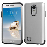 Slim Armor Multi-Layer Hybrid Case for LG Aristo / Fortune / K8 2017 / Phoenix 3 - Silver