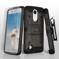 3-IN-1 Kinetic Hybrid Holster Case with Screen Protector for LG Aristo / Fortune / K8 2017 / Phoenix 3 - Grey
