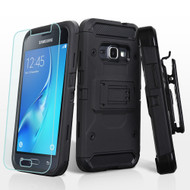 *SALE* Kinetic Hybrid Holster Case and Tempered Glass for Samsung Galaxy Amp 2 / Express 3 / J1 (2016) - Black