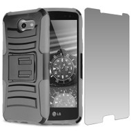 Advanced Holster Case + Tempered Glass for Samsung Galaxy J3 (2017) / J3 Emerge / J3 Prime / Amp Prime 2 / Sol 2 - Grey