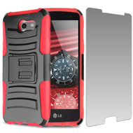 Advanced Holster Case + Tempered Glass for Samsung Galaxy J3 (2017) / J3 Emerge / J3 Prime / Amp Prime 2 / Sol 2 - Red