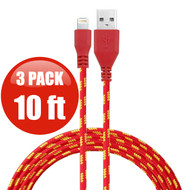 *SALE* 10 ft. Eco-Friendly Braided Nylon Fiber Lightning Connector to USB Charge and Sync Cable - 3 Pack Red