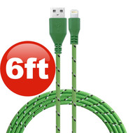 6 ft. Eco-Friendly Braided Nylon Fiber Lightning Connector to USB Charge and Sync Cable - Green