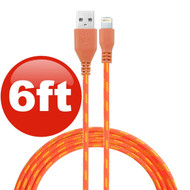 6 ft. Eco-Friendly Braided Nylon Fiber Lightning Connector to USB Charge and Sync Cable - Orange