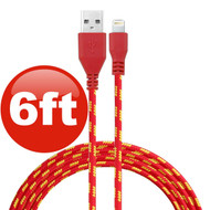 6 ft. Eco-Friendly Braided Nylon Fiber Lightning Connector to USB Charge and Sync Cable - Red