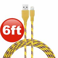 6 ft. Eco-Friendly Braided Nylon Fiber Lightning Connector to USB Charge and Sync Cable - Yellow