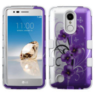 Military Grade TUFF Image Hybrid Armor Case for LG Aristo / Fortune / K8 2017 / Phoenix 3 - Twilight Petunias