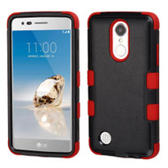 Military Grade Certified TUFF Hybrid Armor Case for LG Aristo / Fortune / K8 2017 / Phoenix 3 - Black Red