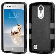Military Grade TUFF Hybrid Armor Case for LG Aristo / Fortune / K8 2017 / Phoenix 3 - Black Grey