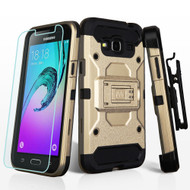 Kinetic Holster Case and Tempered Glass Screen Protector for Samsung Galaxy Amp Prime / Express Prime / J3 / Sol - Gold