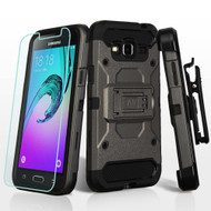 Kinetic Holster Case and Tempered Glass Screen Protector for Samsung Galaxy Amp Prime / Express Prime / J3 / Sol - Grey