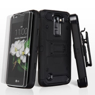 3-IN-1 Kinetic Hybrid Case with Holster and Screen Protector for LG K7 / Treasure LTE / Tribute 5 - Black